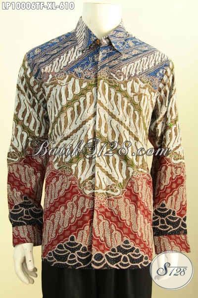 Olshop Baju Batik Premium, Sedia Hem Lengan Panjang Branded Bahan Halus Motif Klasik Mewah Tulis Tangan Asli Harga 610K, Size XL Full Furing