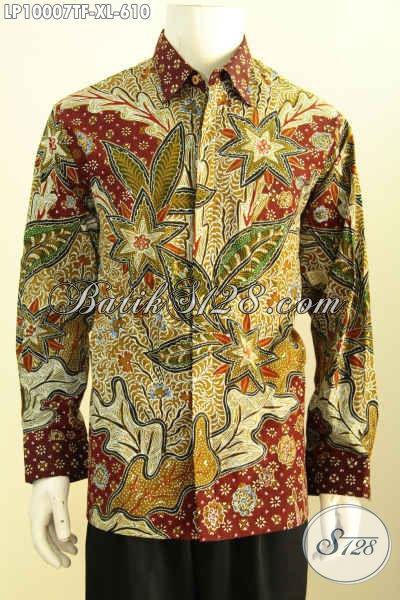Jual Kemeja Batik Solo Premium, Hem Batik Mewah Lengan Panjang Berkelas, Produk Pakaian Batik Modern Motif Klasik Tulis Asli Harga 610K [LP10007TF-XL]