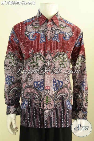 Model Kemeja Batik Premium Pria Pejabat, Busana Batik Mewah Elegan Motif Klasik Lengan Panjang Proses Tulis Tangan Asli Harga 610K, Size XL
