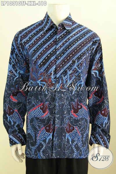 Baju Batik Lengan Panjang Elegan Klasik, Hem Batik Full Furing Motif Mewah Bahan Adem, Pas Untuk Acara Resmi Size XXL Harga 610K
