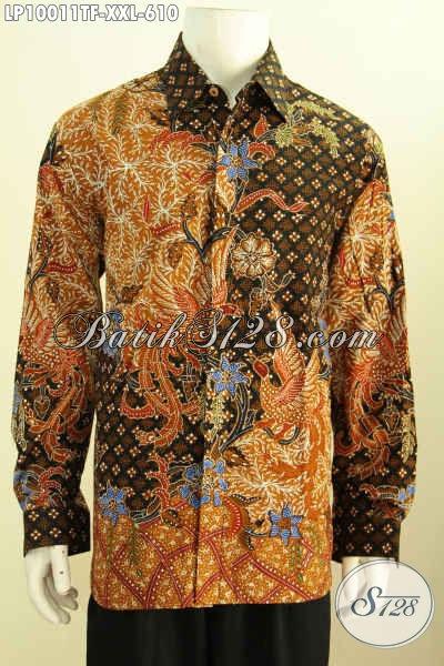 Produk Pakaian Batik Lengan Panjang Mewah Motif Klasik, Busana Batik Pria Gemuk Desai Kekinian Daleman Pakai Furing Harga 610K [LP10011TF-XXL]