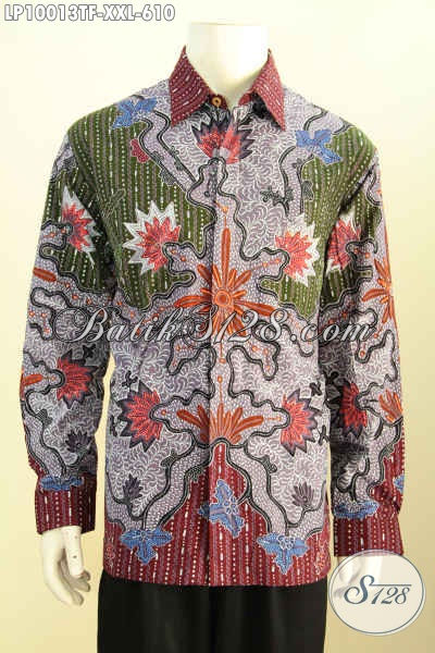 Sedia Kemeja Batik Solo Premium, Baju Batik Mewah Untuk Pria Gemuk Bahan Halus Motif Klasik Tulis, Cocok Buat Kondangan Dan Rapat, Size XXL