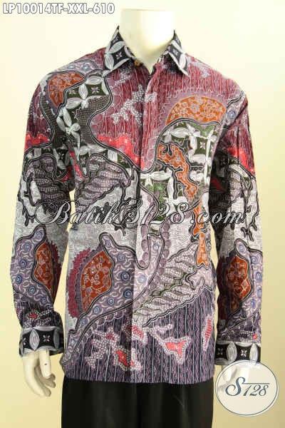 Batik Hem Solo Premium, Kemeja Batik Mewah Lengan Panjang 3L, Produk Baju Batik Pria Gemuk Nan Istimewa, Penampilan Gagah Sempurna [LP10014TF-XXL]
