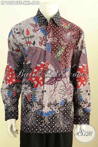 Jual Online Batik Solo Jawa Tengah Berkelas, Pakaian Batik Mewah Untuk Acara Resmi, Busana Batik Solo Halus Tulis Asli Lengan Panjang Full Furing Size XXL Harga 610K