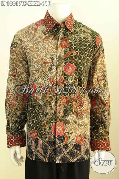 Hem Batik Pria Gemuk Sekali, Kemeja Batik Lengan Panjang Premium Solo Full Furing Bahan Halus Kwalitas Istimewa, Size XXXL Tampil Mempesona