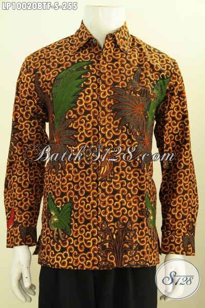 Baju Batik Hem Premium Solo Lengan Panjang Halus Motif Klasik Kombinasi Tulis Daleman Pakai Furing, Elegan Untuk Acara Resmi, Size S