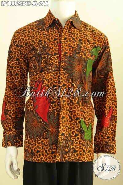 Toko Busana Batik Solo Halus Full Furing Model Lengan Panjang, Pakaian Batik Klasik Berkelas, Bikin Pria Tampil Sempurna, Size M