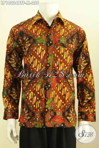 Pakaian Batik Solo Istimewa, Hem Lengan Panjang Halus Full Furing Motif Klasik Proses Kombinasi Tulis Yang Membuat Pria Terlihat Gagah Dan Tampan, Size M