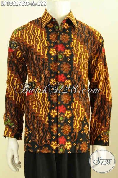 Pakaian Batik Solo Premium Kombinasi Tulis, Hem Batik Klasik Elegan Mewah Daleman Full Furing, Penampilan Lebih Mempesona, Size M