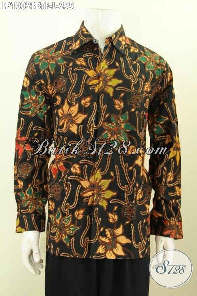 Busana Batik Kerja Lengan Panjang, Pakaian Batik Solo Halus Nan Istimewa, Baju Batik Elegan Motif Trendy Kombinasi Tulis Full Furing Hanya 255K, Size L