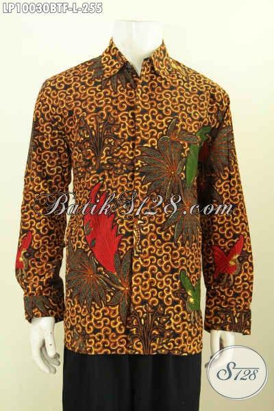 Hem Batik Klasik Desain Modern Nan Berkelas, Pakaian Batik Kerja Lengan Panjang Pake Furing Proses Kombinasi Tulis, Tampil Lebih Gagah, Size L