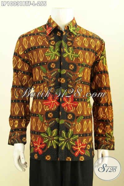 Jual Pakaian Batik Pria Lengan Panjang Halus Proses Kombinasi Tulis Nan Istimewa, Busana Keren Buat Pesta Dan Acara Resmi Tampil Berkelas, Size L