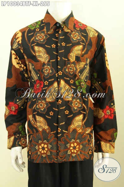 Baju Batik Solo Pria Lengan Panjang, Hem Halus Motif Klasik Nan Elegan Bahan Adem Proses Kombinasi Tulis, Penampilan Makin Bergaya, Size XL