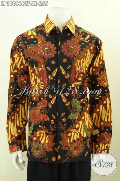 Pakaian Batik Hem Pria Dewasa Lengan Panjang Full Furing, Busana Batik Solo Halus Proses Kombinasi Tulis Yang Bikin Penampilan Tampan Menawan, Size XL