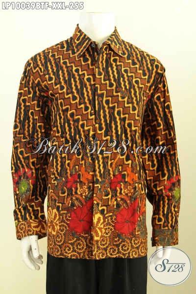 Baju Batik Untuk Pria Model Lengan Panjang Elegan, Hem Batik Kombinasi Tulis Klasik Spesial Untuk Lelaki Gemuk Terlihat Berwibawa, Size XXL
