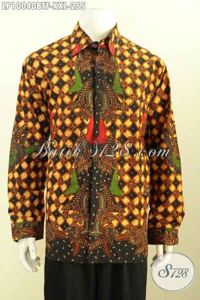 Sedia Baju Batik Solo Halus Lengan Panjang Motif Klasik Spesial Buat Lelaki Gemuk Daleman Full Furin Hanya 200 Ribuan, Size XXL