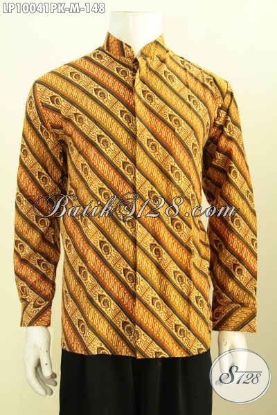 Jual Kemeja Koko Lengan Panjang, Busana Batik Klasik Motif Parang Krah Shanghai Yang Membuat Pria Terlihat Mempesona, Size M Proses Printing