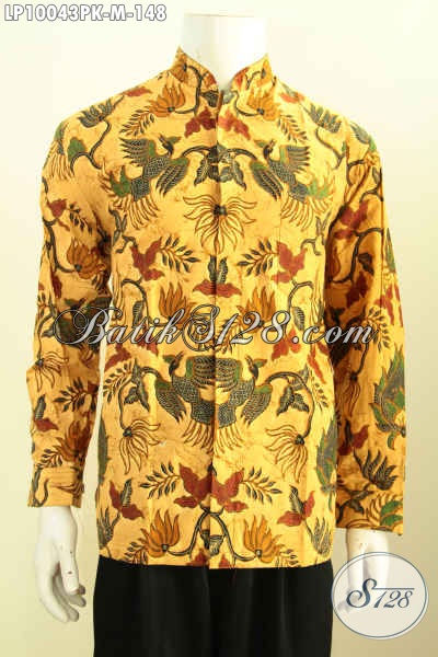 Olshop Baju Batik Muslim Online, Sedia Kemeja Koko Krah Shanghai Halus Motif Klasik Lengan Panjang Bahan Adem Proses Printing, Hanya 100 Ribuan Size M