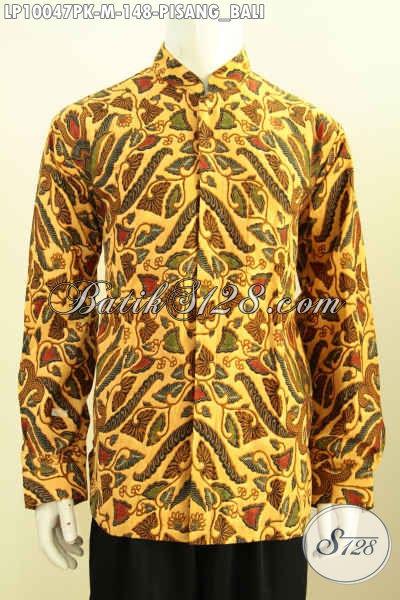 Batik Hem Pria Berkelas Model Krah Shanghai, Pakaian Batik Solo Halus Motif Pisang Bali Proses Printing, Penampilan Makin Gaya, Size M