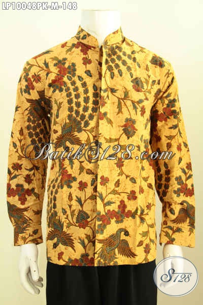 Busana Batik Halus Lengan Panjang Lengan Desain Krah Shanghai, Pakaian Batik Modis Untuk Penampilan Gaya Dan Berkelas Motif Klasik 148K, Size M