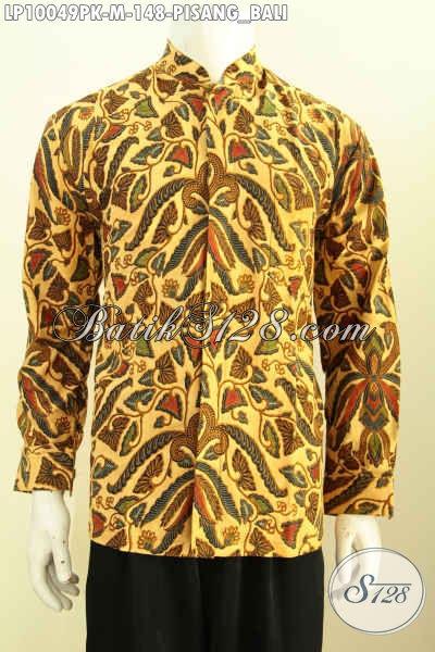 Hem Batik Kerja Elegan Motif Pisang Bali, Baju Batik Koko Krah Shanghai Bikin Penampilan Tampan Mempesona, Size M