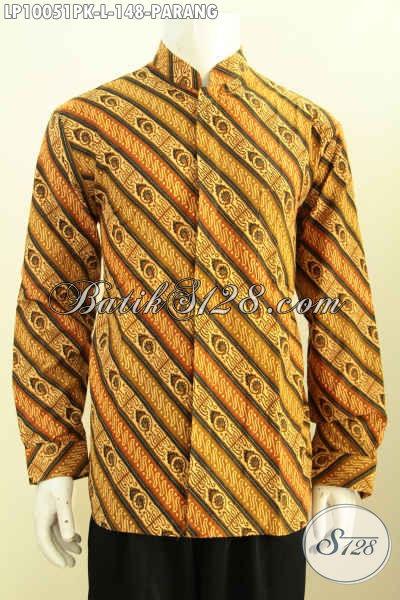 Baju Batik Elegan, Hem Batik Modis, Pakaian Batik Berkelas Krah Shanghai Motif Klasik Parang Proses Printing, Harga 148K Size L