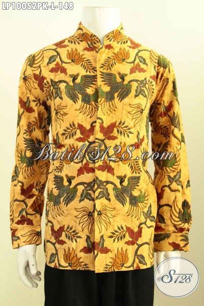 Baju Kemeja Batik Solo Lengan Panjang Krah Shanghai, Busana Batik Solo Istimewa Motif Bagus Proses Printing, Di Jual Online 148PK [LP10052PK-L]