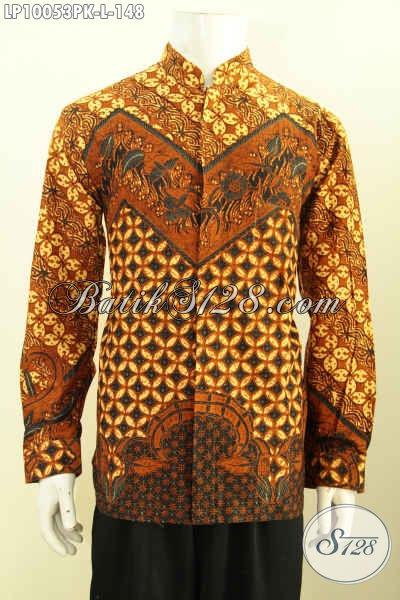 Jual Baju Batik Solo Online, Kemeja Lengan Panjang Batik Nan Elegan Motif Klasik Model Koko Krah Shanghai, Penampilan Keren Dan Mempesona, Size L