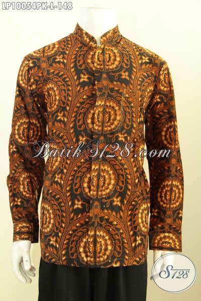 Sedia Baju Batik Kerja Elegan Klasik, Busana Batik Solo Printing Model Krah Shanghai Bahan Halus Nyaman Di Pakai Ke Kantor, Size L