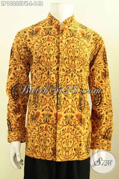 Produk Kemeja Batik Solo Halus Masa Kini, Busana Batik Jawa Tengah Krah Shanghai Kwalitas Bagus, Menunjang Penampilam Makin Gaya, Size L