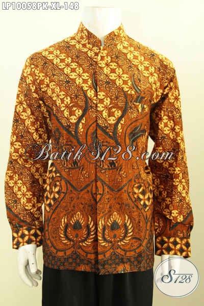 Model Baju Batik Pria Lengan Panjang Koko Krah Shanghai, Pakaian Batik Trend Masa Kini Berpadu Motif Klasik Berkelas, Hanya 148 Ribu Ukuran XL