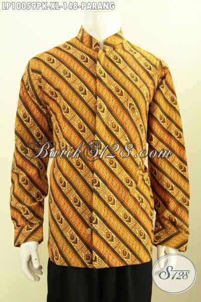 Batik Hem Klasik Lengan Panjang Proses Printing Motif Parang, Baju Batik Solo Istimewa Yang Bikin Lelaki Gagah Berkarakter, Size XL