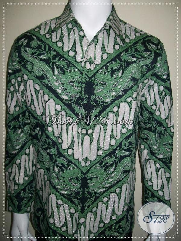 Kemeja Batik Motif Parang Naga Warna Hitam Hijau, Mantap [LP1006BTD-M]