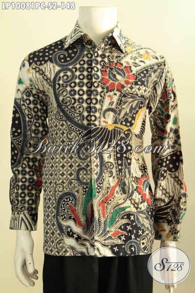Baju Batik Pria Berkwalitas, Hem Lengan Panjang Motif Klasik Nan Elegan Pas Untuk Acara Resmi, Pakaian Batik Printing Solo Bikin Penampilan Lebih Berkelas Harga Murah [LP10081PC-S]
