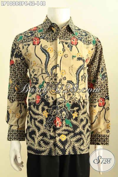 Model Baju Batik Hem Lengan Panjang Istimewa, Pakaian Batik Solo Halus Motif Klasik Printing Yang Membuat Penampilan Gagah Menawan, Size S
