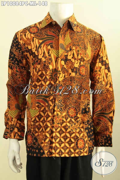 Model Baju Batik Pria Lengan Panjang Klasik, Hem Batik Halus Proses Printing Nan Berkelas Penampilan Lebih Berwibawa, Size M – L