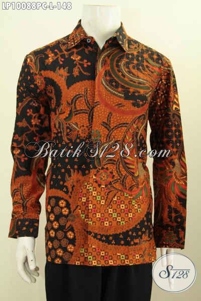Kemeja Kerja Lengan Panjang Klasik, Pakaian Batik Cowok Terbaru Bahan Adem Proses Print Colet, Tampil Lebih Gagah Berwibawa, Size L