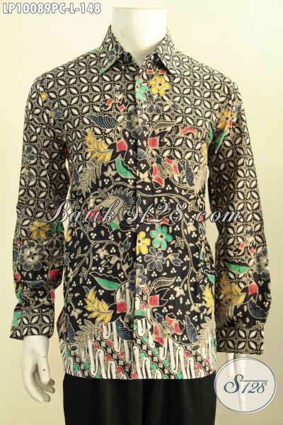 Jual Batik Kemeja Pria Desain Formal Nan Berkelas, Pakaian Batik Solo Elegan Lengan Panjang Bahan Adem Proses Printing Motif Klasik Harga 148K, Size L
