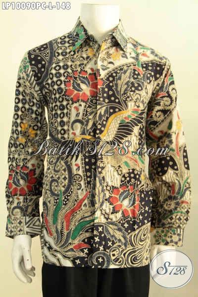 Model Baju Batik Cowok 2017, Produk Kemeja Batik Pria Lengan Panjang Dengan Motif Klasik Berkelas Hanya 148K, Size L