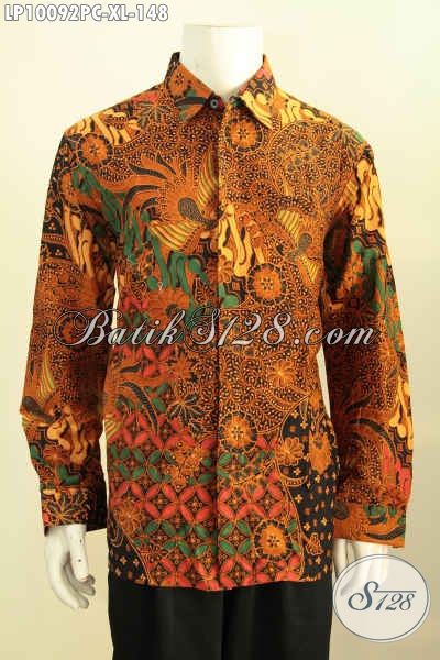 Model Kemeja Batik Solo Lengan Panjang Istimewa, Hem Batik Klasik Solo Halus Bahan Adem Proses Printing Colet Untuk Penampilan Lebih Berkelas, Size XL