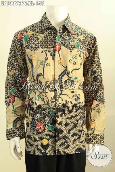 Baju Batik Kerja Size XL, Kemeja Batik Solo Halus Elegan Motif Klasik Print Colet Model Lengan Panjang, Tampil Berwibawa