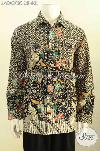 Model Baju Batik Pria Untuk Acara Resmi, Hem Batik Formal Motif Klasik Lengan Panjang Proses Printing Colet, Tmapil Makin Gagah, Size XL