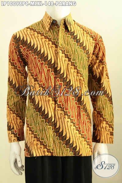 Model Baju Batik Kemeja Elegan Motif Parang, Hem Batik Pria Berkelas Proses Print Colet, Size M – L