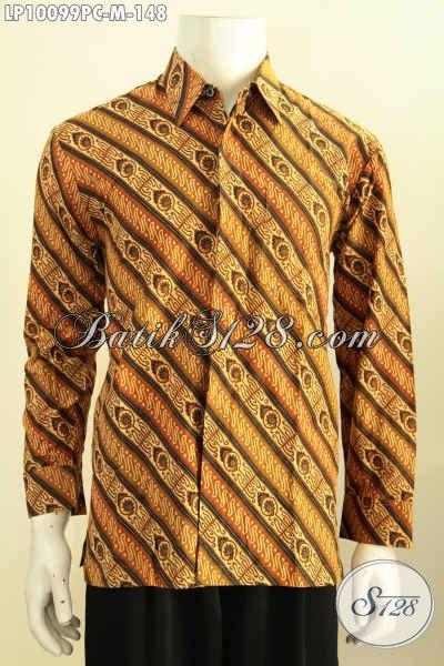 Kemeja Pria Lengan Panjang Bahan Batik Desain Trend Masa Kini Dengan Motif Klasik Printing, Cocok Buat Rapat Dan Acara Formal, Size M