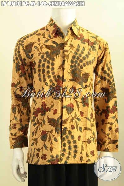 Baju Hem Lengan Panjang Bahan Batik Klasik Motif Cendrawasih, Busana Batik Elegan Proses Printing Yang Bikin Pria Terlihat Gagah, Size M