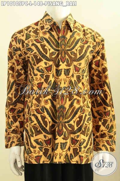 Batik Hem Solo Lengan Panjang Motif Pisang Bali, Busana Batik Elegan Nan Berkelas Bikin Pria Terlihat Gagah Dan Tampan, Size L