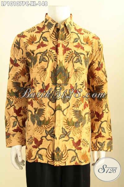 Model Baju Batik Kemeja Lengan Panjang Klasik Solo, Produk Baju Batik Jawa Tengah Halus Kwalitas Istimewa Proses Printing Bahan Adem Untuk Kerja Kantoran, Size XL