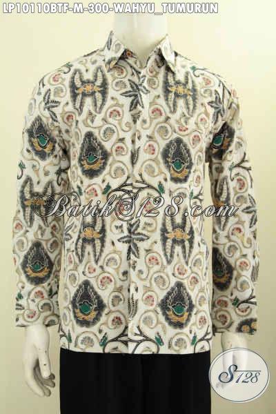 Pakaian Batik Kwalitas Premium Model Lengan Panjang, Busana Batik Istimewa Pake Furing Motif KlasikWahyu Tumurun Proses Kombinasi Tulis, Tampil Lebih Berkarakter [LP10110BTF-M]
