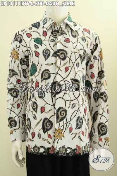 Model Baju Batik Cowok Mewah Elegan Desain Kekinian, Hem Batik Klasik Motif Daun Sirih Full Furing Proses Kombinasi Tulis Harga 300 Ribu, Size L