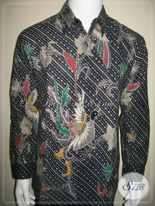 Kemeja Batik Liris Warna Hitam Ornamen Burung [LP1018BT-L]